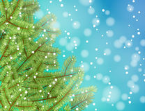 Vector christmas tree on blue background. Stock Images