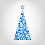 Vector Christmas tree from blue butterfly with star on the top. Stock Photos