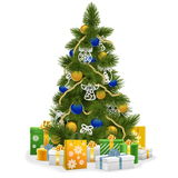 Vector Christmas Tree with Blue Decorations Stock Photo