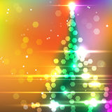 Vector Christmas Tree. On Blurred Background with lots of Lights Royalty Free Stock Images