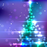 Vector Christmas Tree. On Blurred Background with lots of Lights Royalty Free Stock Photography