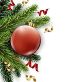 Vector Christmas tree branch with red ball isolated on white. The view from the top. Christmas and new year background Royalty Free Stock Photography
