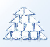 Vector Christmas tree builded from ice blocks Stock Image