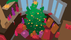 vector christmas tree dark room Stock Images
