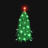 Vector Christmas Tree  on Dark Transparent Background. Green Fir Tree with Star and Bright Shine Light Bulbs. Vector Illustration for Christmas or New Year Royalty Free Stock Image