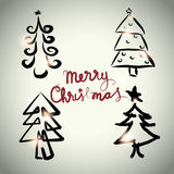 Vector Christmas tree design set sketch style Stock Images