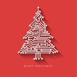 Vector christmas tree from digital electronic circuit royalty free illustration