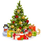 Vector Christmas Tree with Garland. Isolated on white background Stock Photo