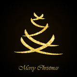 Vector Christmas tree gold glitter greeting card Royalty Free Stock Image