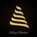 Vector Christmas tree gold glitter greeting card Stock Images