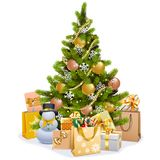 Vector Christmas Tree with Golden Decorations vector illustration