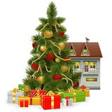 Vector Christmas Tree with House Stock Photography