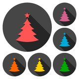 Vector Christmas tree icons set with long shadow Stock Photography