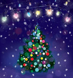 Vector Christmas tree and lights decorations. Royalty Free Stock Photos