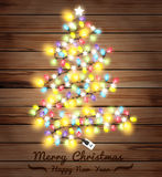 Vector christmas tree made of christmas lights Stock Photo