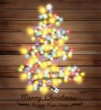 Vector christmas tree made of christmas lights Stock Photo