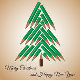 Vector christmas tree made from colored pencils Royalty Free Stock Photos