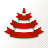 Vector Christmas tree made of realistic ribbon with shadow on transparent background. Royalty Free Stock Images