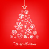Vector Christmas tree made from snowflakes on red Stock Photos
