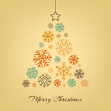 Vector Christmas tree made from snowflakes on Royalty Free Stock Photo