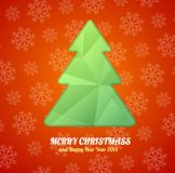 Vector Christmas tree paper card. Royalty Free Stock Image