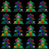 Vector Christmas Tree Seamless Pattern. Vector illustration of Xmas fir-tree with colorful balls, wrapping, cover Stock Image