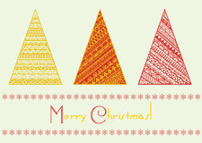 Vector christmas tree set with geometrical line pattern elements. Royalty Free Stock Image