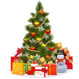 Vector Christmas Tree with Snowman Royalty Free Stock Images