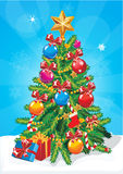 Vector Christmas tree . Star, decoration balls and light bulb chain decorated christmas tree with lots of gift boxes Stock Photos