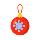 Vector of Christmas-tree toy isolated on white. Cartoon style. Cute funny icon. illustration. Stock Image