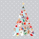 Vector Christmas tree with toys and objects Royalty Free Stock Image