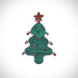 Vector christmas tree  on white background Stock Image