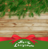 Vector christmas tree on wood Stock Photography