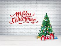 Vector christmas tree, xmas new year design. Vector xmas spruce tree with christmas lights garland, present boxes with merry christmas lettering inscription on royalty free illustration