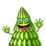 Vector christmas tree, xmas new year design. Vector funny spruce christmas tree character with arms, face smiling. Realistic green creature waving hands on royalty free illustration