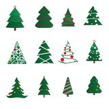 Vector Christmas trees decorated with balls and stars, isolated on a white background. Winter holidays concept. A Christmas trees decorated with balls Royalty Free Stock Images