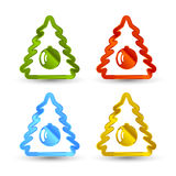 Vector Christmas trees icons. Set on white background Stock Photos