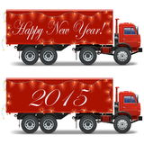 Vector Christmas Truck. On white background Stock Photos