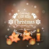 Vector Christmas Typography Blurred Background Stock Photo