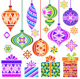 Vector Christmas vintage ornaments. A full set of vintage retro vector illustration of Christmas ornaments, gifts and sparks Stock Images