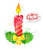 Vector Christmas watercolor illustration of candle Stock Photos