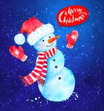 Vector Christmas illustration of Snowman. Vector Christmas watercolor illustration of Snowman wearing santa hat, scarf and mittens with paint splashes  on blue Stock Photography