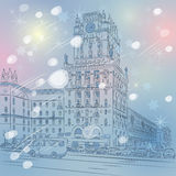 Vector Christmas winter cityscape of a city-center Royalty Free Stock Photo