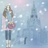 Vector Christmas winter cityscape with fashion gir Royalty Free Stock Images