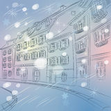 Vector Christmas winter cityscape of old European  Stock Image