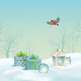 Vector Christmas Winter Landscape Royalty Free Stock Images