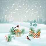 Vector Christmas Landscape Royalty Free Stock Photos