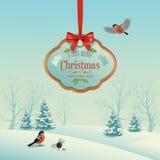 Vector Christmas Winter Landscape Royalty Free Stock Photos