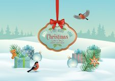 Vector Christmas Winter Landscape. With hanging wooden sign, gifts, snow covered hills, winter forest, bird bullfinch Royalty Free Stock Images