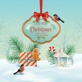 Vector Christmas Winter Landscape Stock Photos